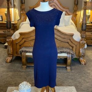 DVF Navy Wool Embellished Sweater Dress Size Small